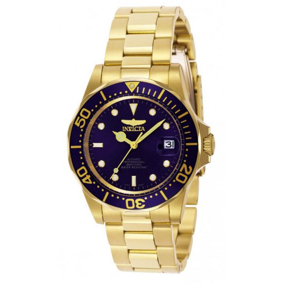 Invicta férfi Pro Diver 40mmarany  nemesacél automata óra karóra, arany/kék (Model: 8930)