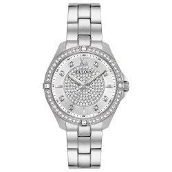 Bulova köves Quartz női óra karóra, nemesacél , ezüst- (Model: 96L236)