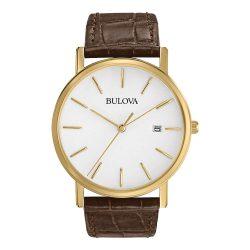 Bulova férfi 97B100 klasszikus arany színű - nemesacél óra karóra barna bőr szíj