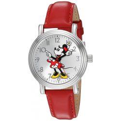Disney Minnie Mouse nőiezüst Vintage ötvözet óra karóra, piros bőr szíj, W002760